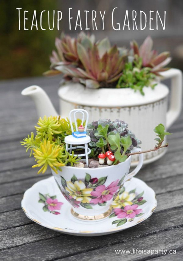 Fairy Garden Ideas: DIY Teacup Fairy Garden