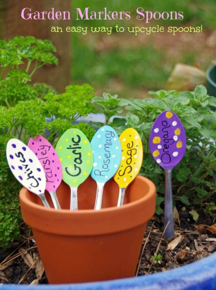 Fun Upcycled Spoon Garden Markers