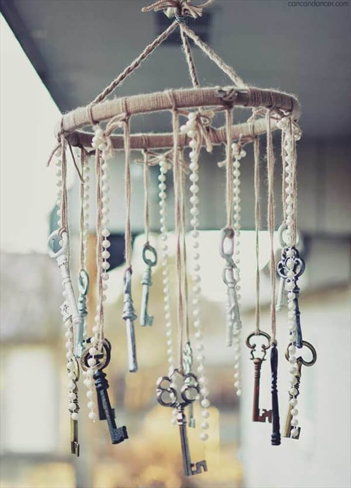 Antique Key and Faux Pearl Wind Chimes