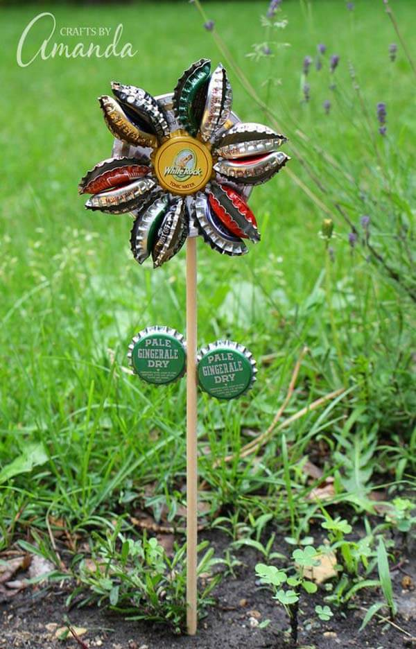 DIY Metal Bottle Cap Pinwheel