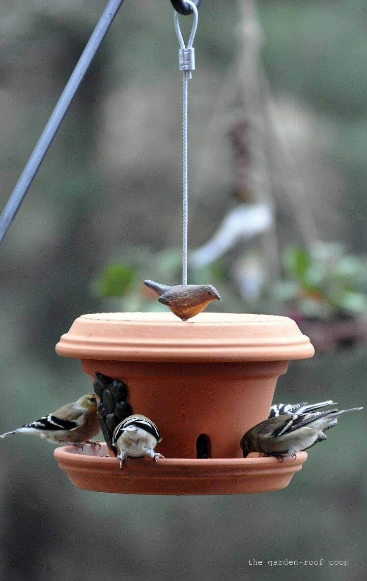 Homemade Flower Pot Bird Feeder