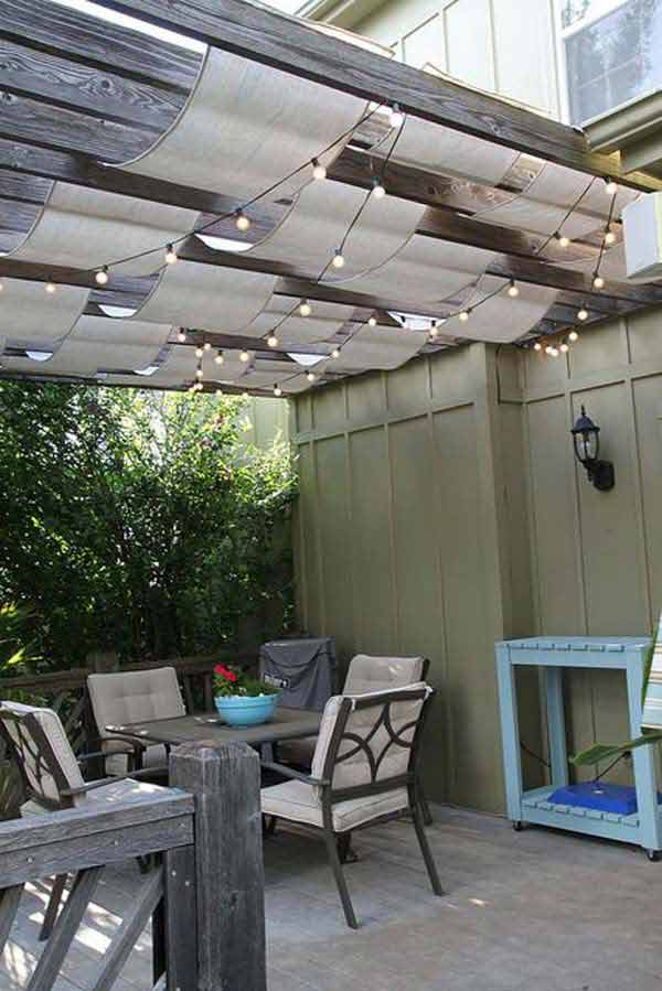 Hanging Shade-Cloth and Outdoor Lighting Combo