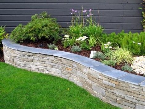 DIY Lawn Edging Ideas For Beautiful Landscaping: Limestone Raised Bed Garden Edging Ideas