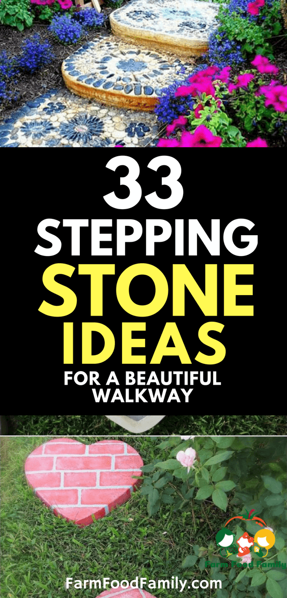 Take a look at 33 best stepping stone ideas for your garden #gardenideas #steppingstone #farmfoodfamily
