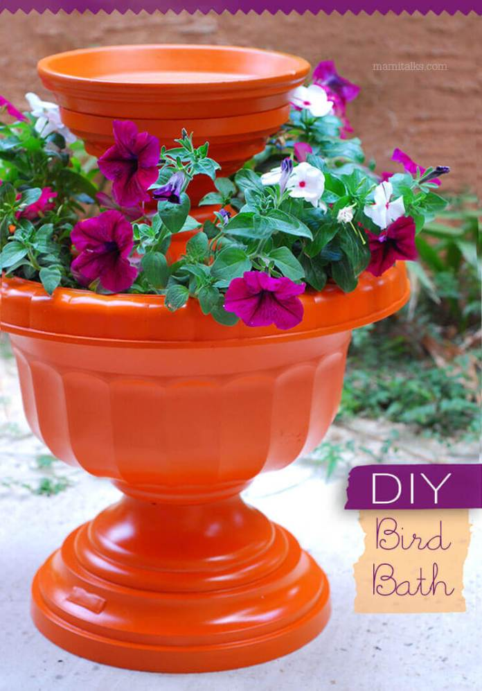 Bird Bath Made From Planter and Pots