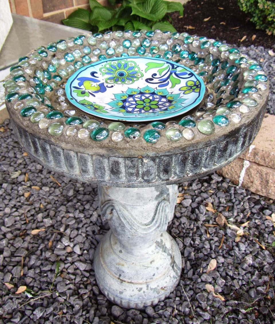 Concrete Bird Bath with Glass Jewels