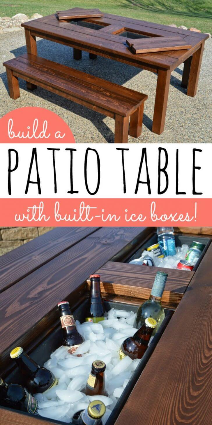 A Wooden Table with a Built-in Cooler