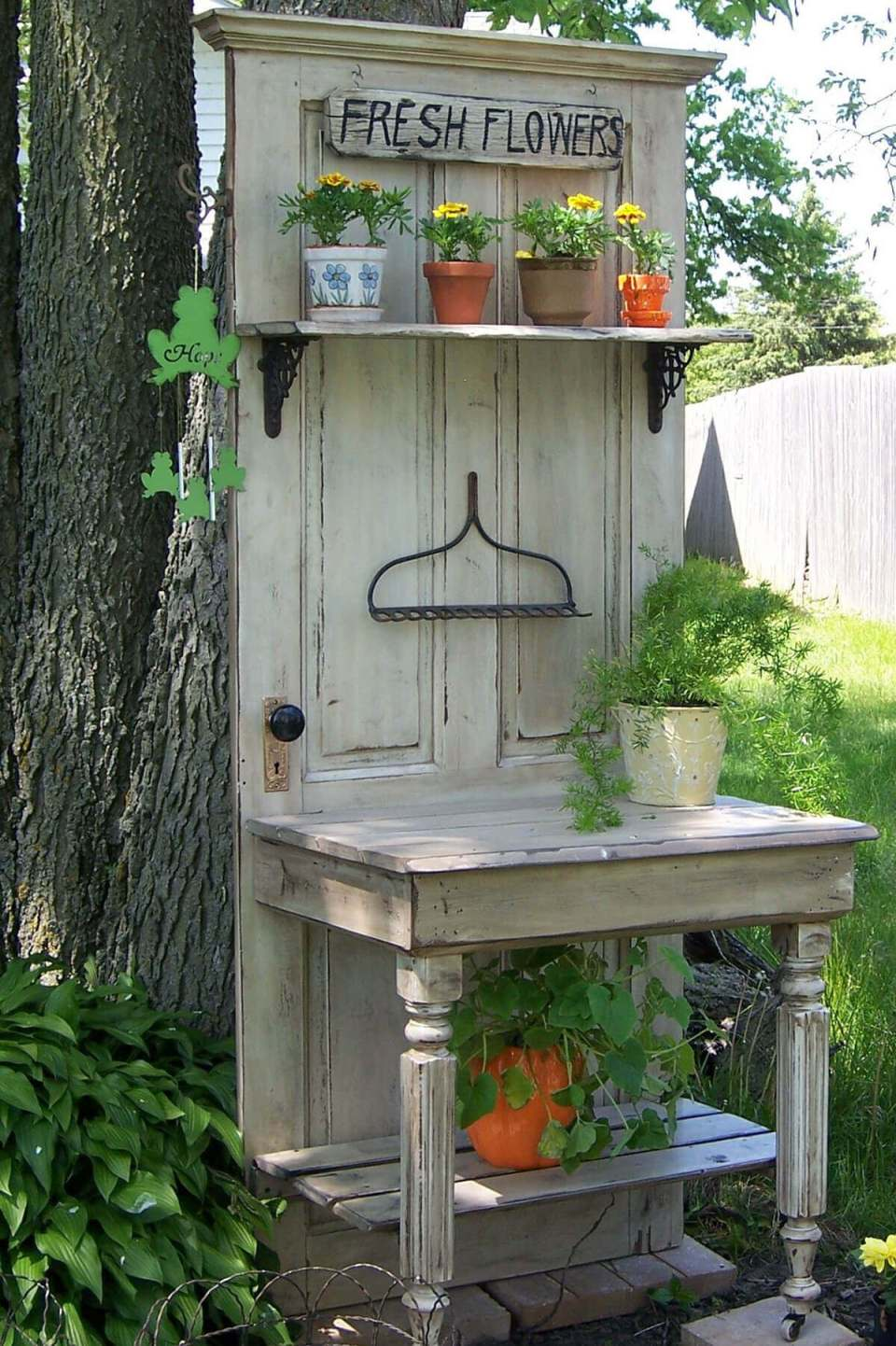 Repurposed Old Door Potting Bench Idea