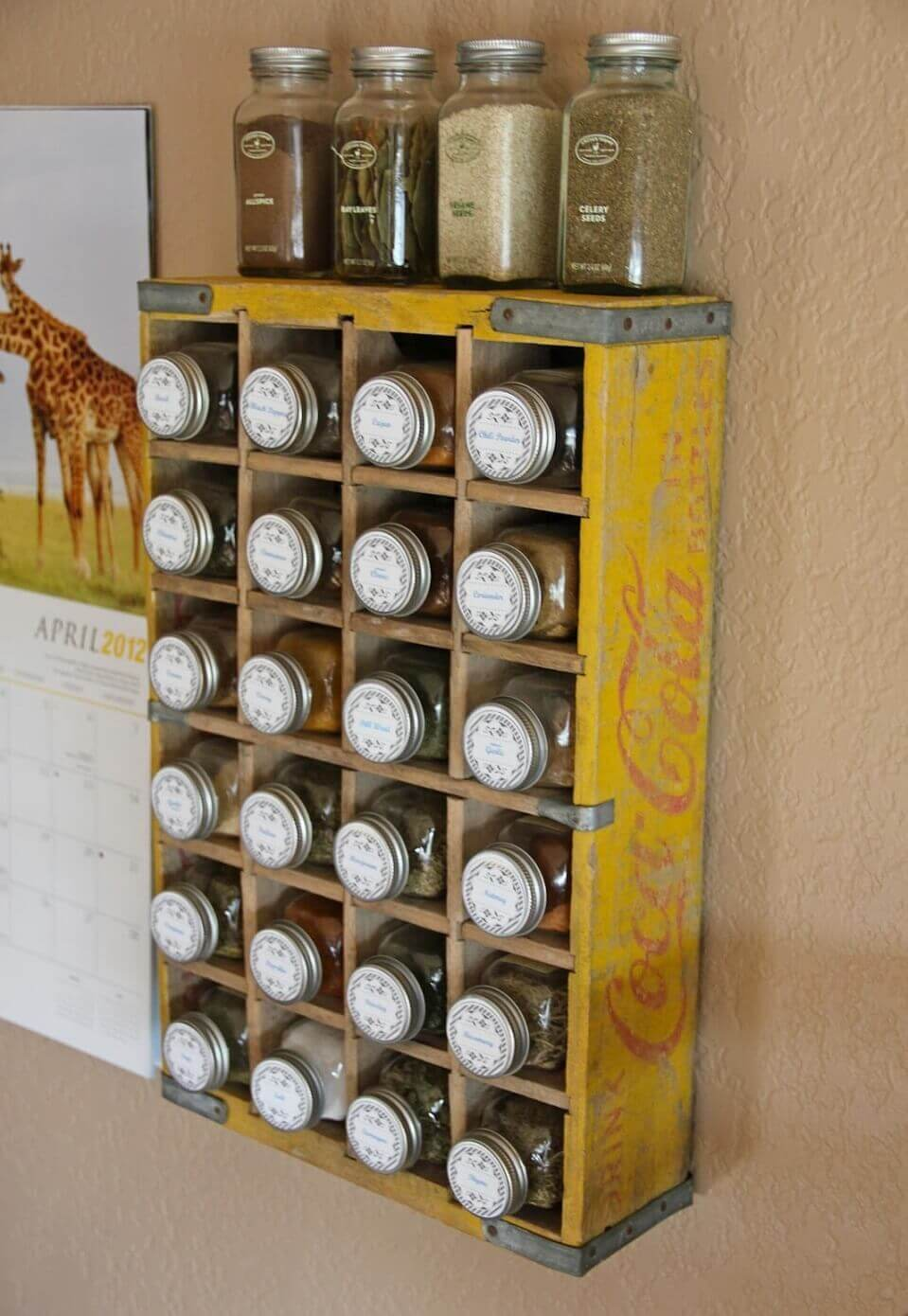 Clever Soda Crate Spice Rack