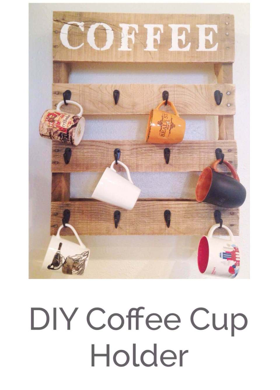 Coffee Cup Holder With Hooks