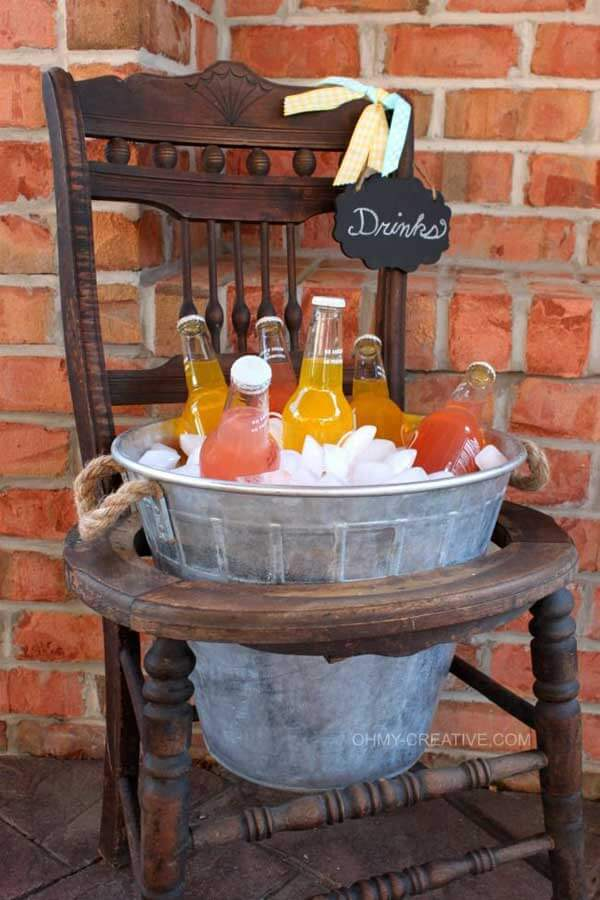 Wooden Chair with an Ice Bucket Center