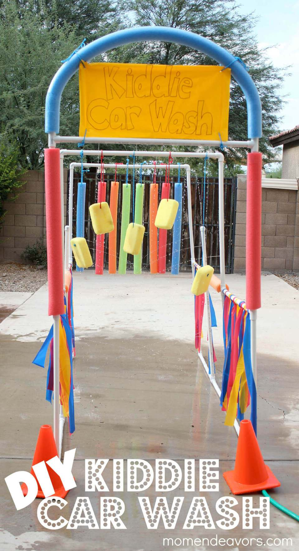 Super-Soaking Kiddie Carwash Sprinkler Setup