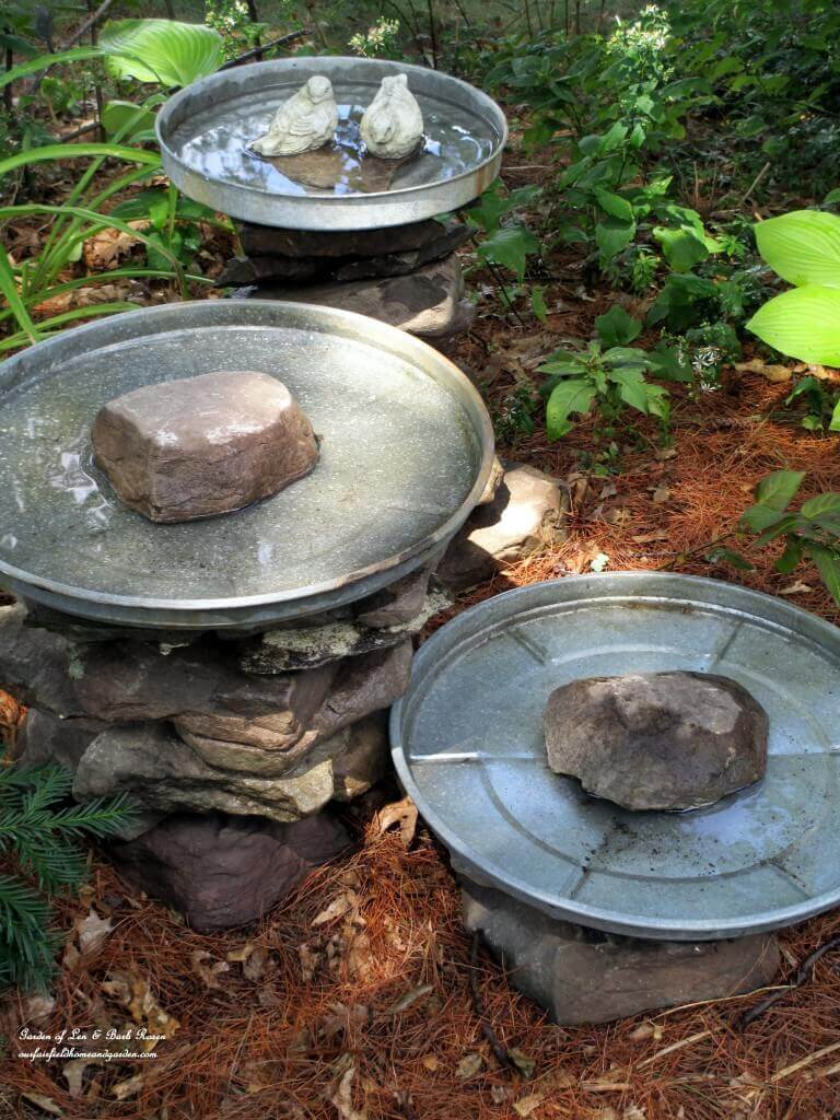 Bird Baths made of Garbage Can Lids