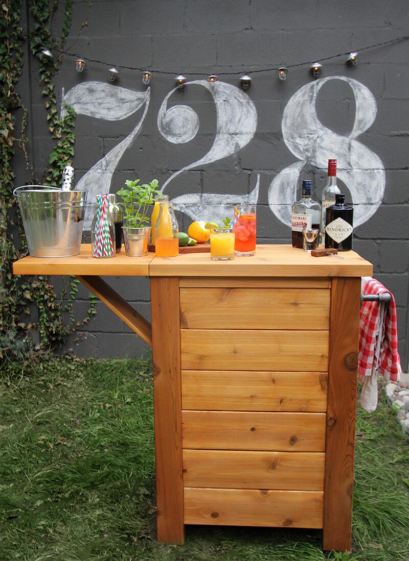An Outdoor Bar Idea made from Wood