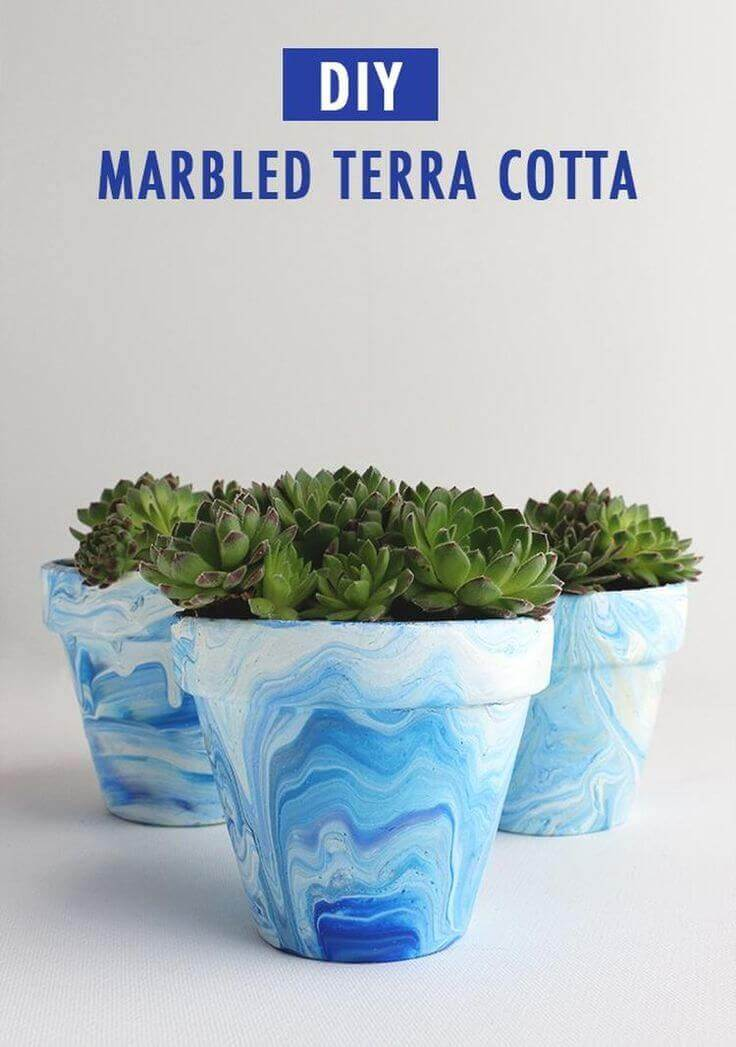 Awesome Marbled Look Terra Cotta Makeover