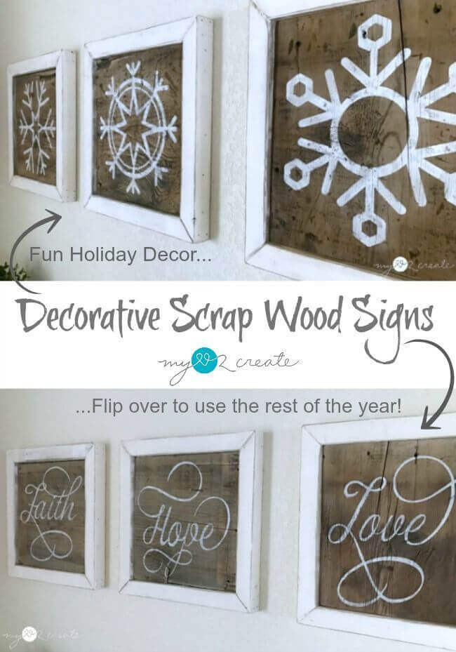 Double-Sided Rustic Found Wood Décor