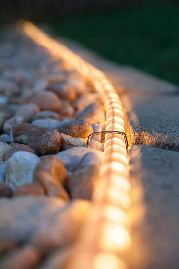 Rope Light Gravel Pathway Illumination