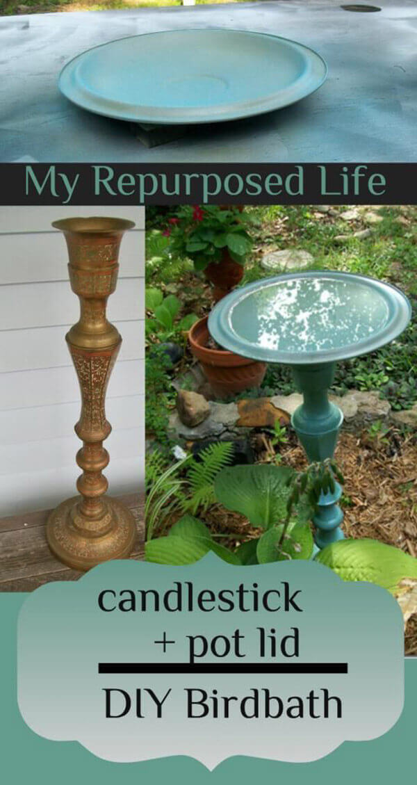 Vintage Candlestick and Metal Bird Bath