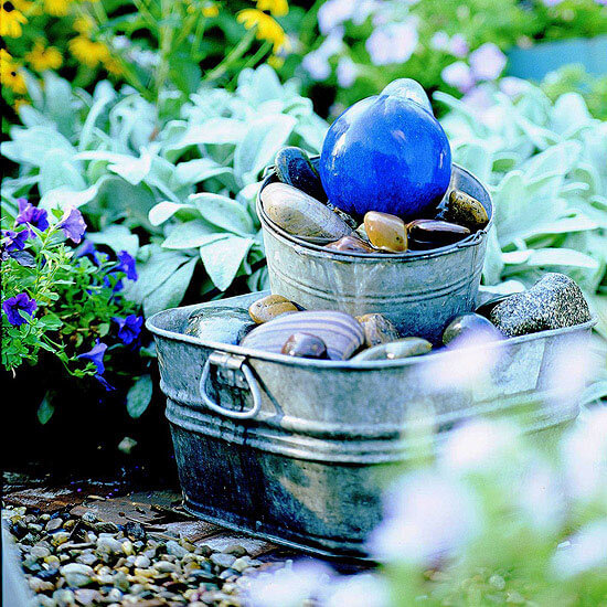 Treasury of Rocks and Bobbles Stacked Pail Fountain