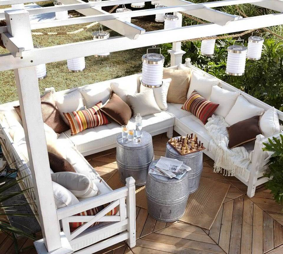 Square Sectional with Keg Tables and Hanging Lanterns