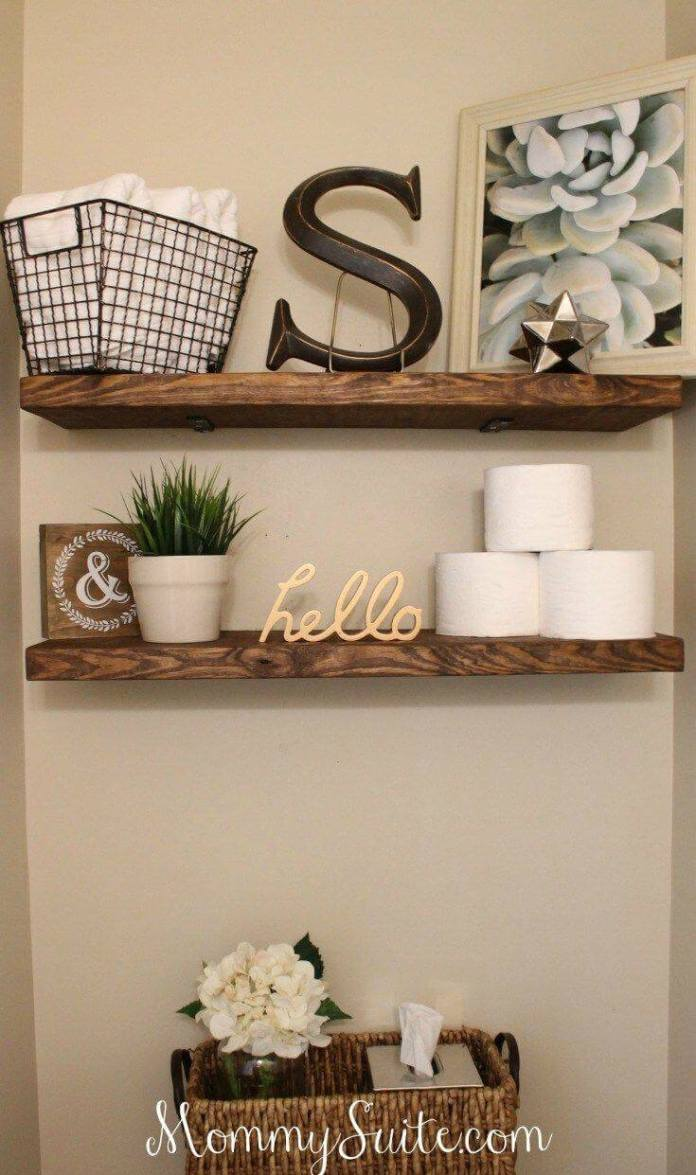 Super Easy Rustic Wood Shelves