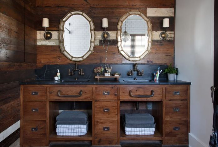 Dark Paneled Vanity Backsplash with Vintage-style Double Mirrors