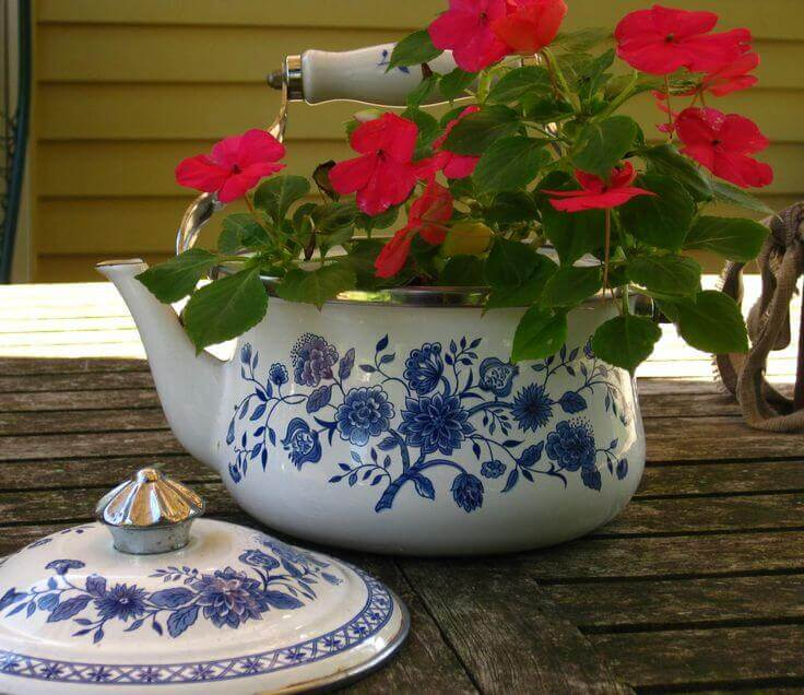 Repurposed Garden Container Ideas with a Tea Kettle