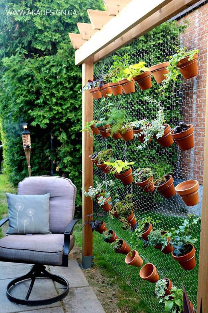 Hanging Chain Link Mini Planters and Office Chair