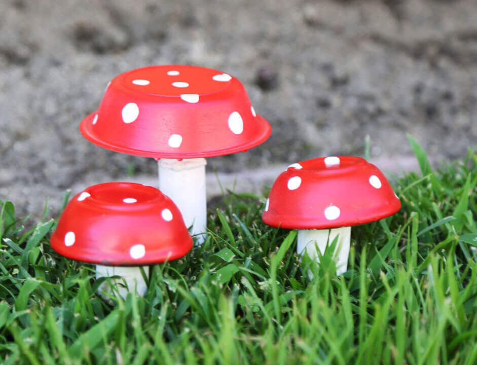 Garden Art DIY Project with Toadstools