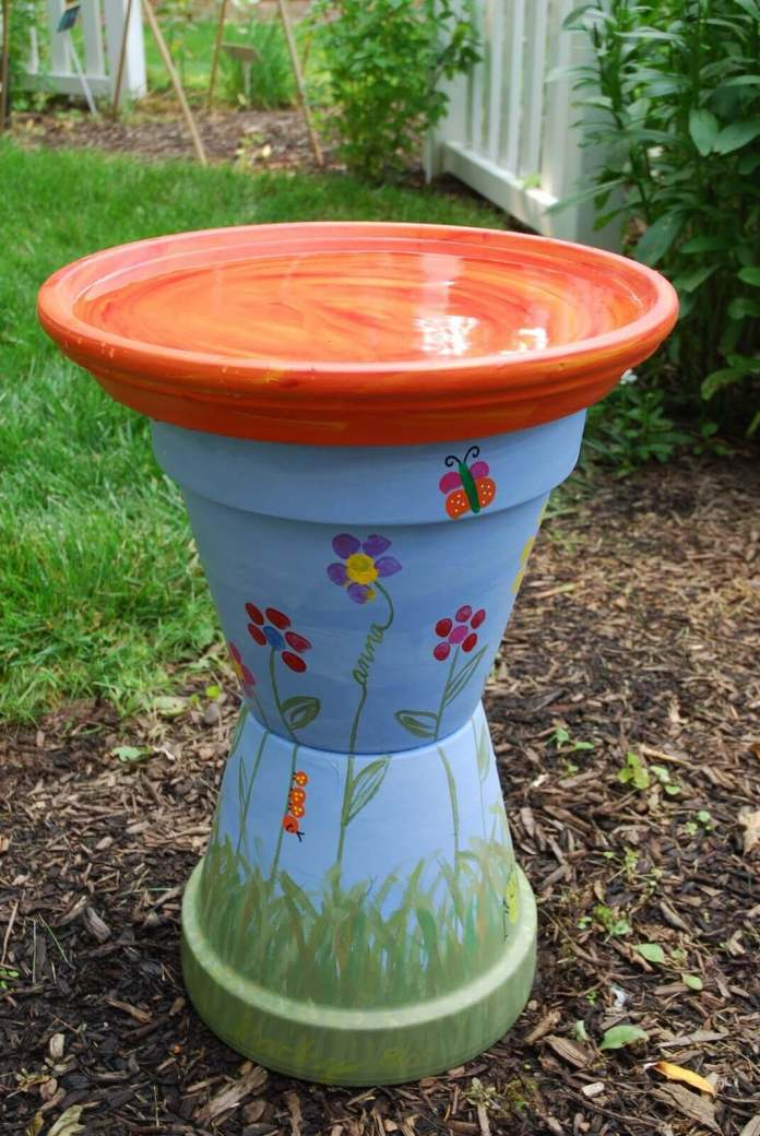 Hand Painted Bird Bath with Pots