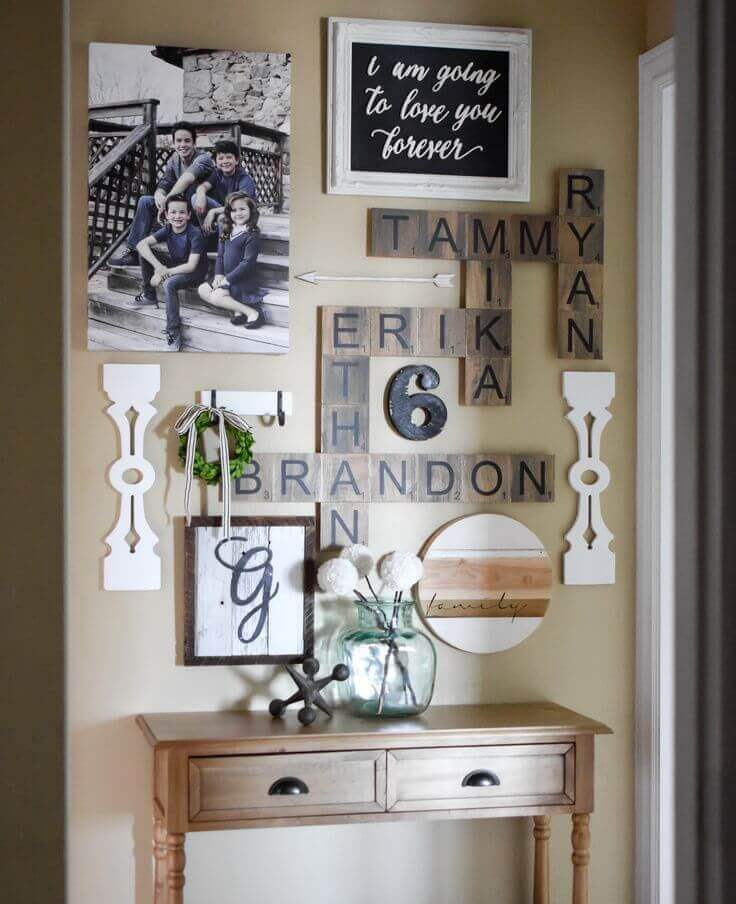 Rustic Family Names Wall Crossword Puzzle
