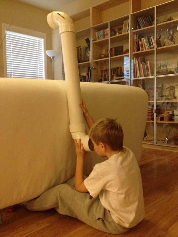 Create a toy periscope with a milk carton and two mirrors and some pipes