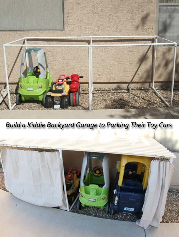 Build a kiddie backyard garage to parking their toys & cars