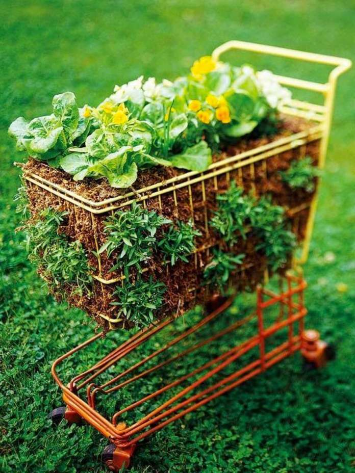 Toy Shopping Cart Filled with Flowers