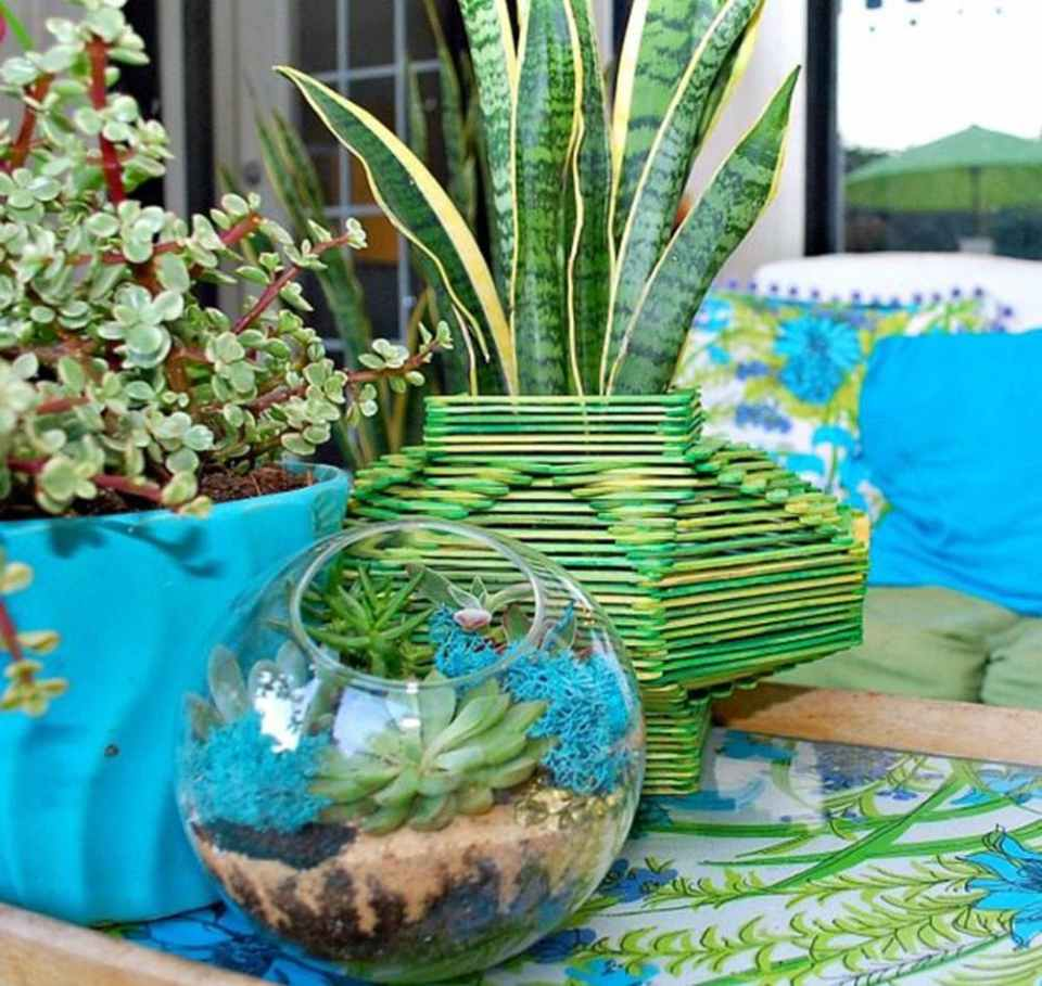 Dyed Popsicle Stick Planter