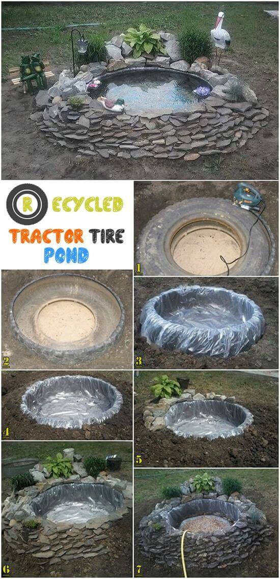 DIY Recycled Tractor Tire Water Feature