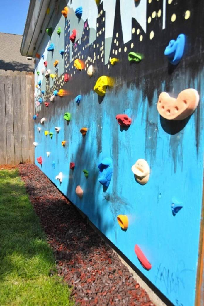 A Rock Climbing Wall with Unique Artwork
