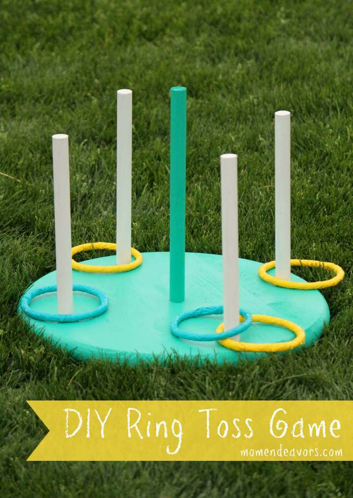 A Green and Yellow Ring Toss Game