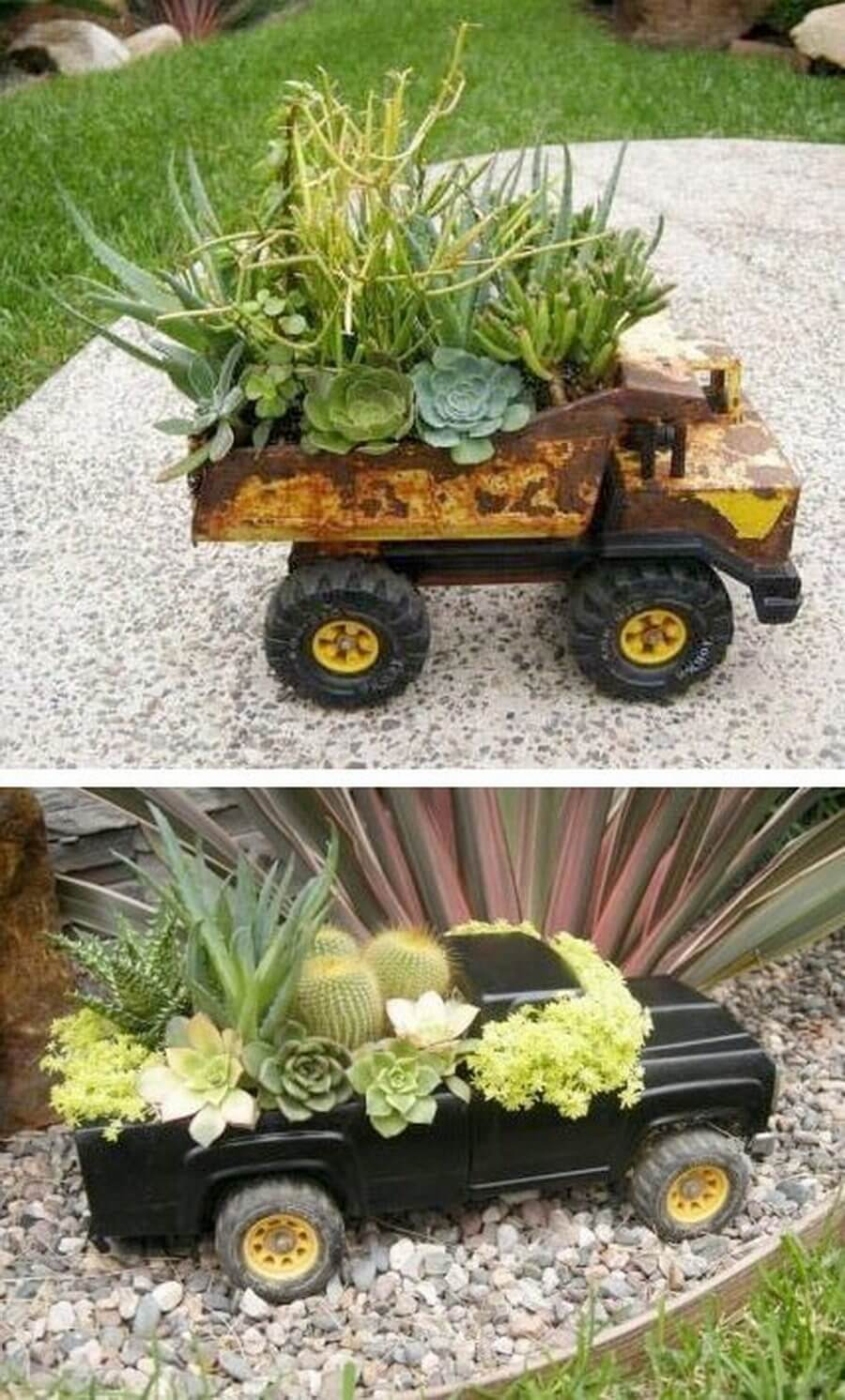 Upcycled Toy Truck Garden Planters