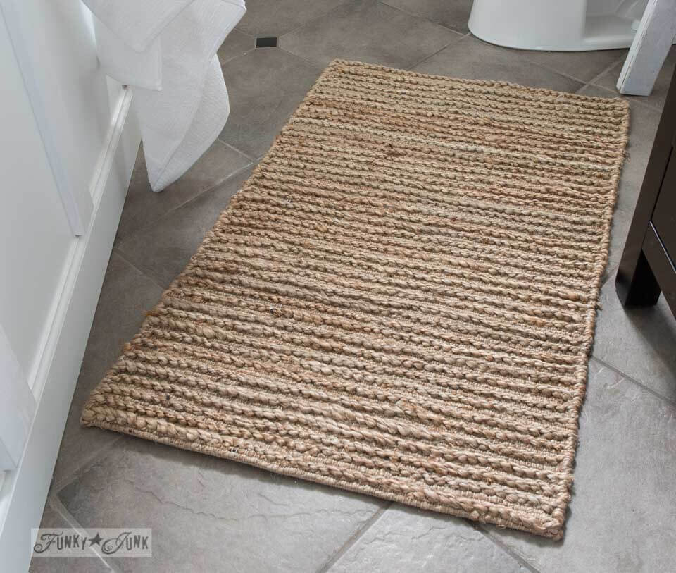 Rustic Sisal Farmhouse Bathroom Rug