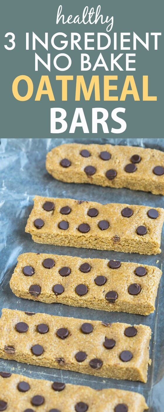 Three Ingredient No Bake Oatmeal Bars