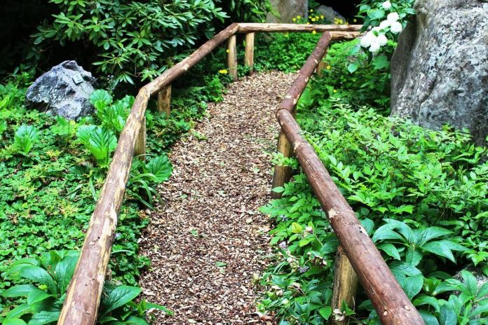 Wood Chip Garden Path