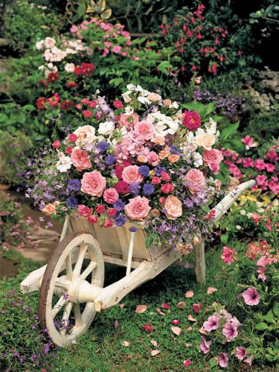 DIY Wooden Wheelbarrow Flower Planter