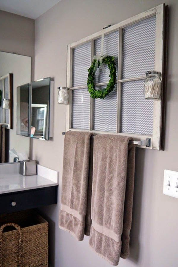 Antique Window Frame Decoration and Towel Rack
