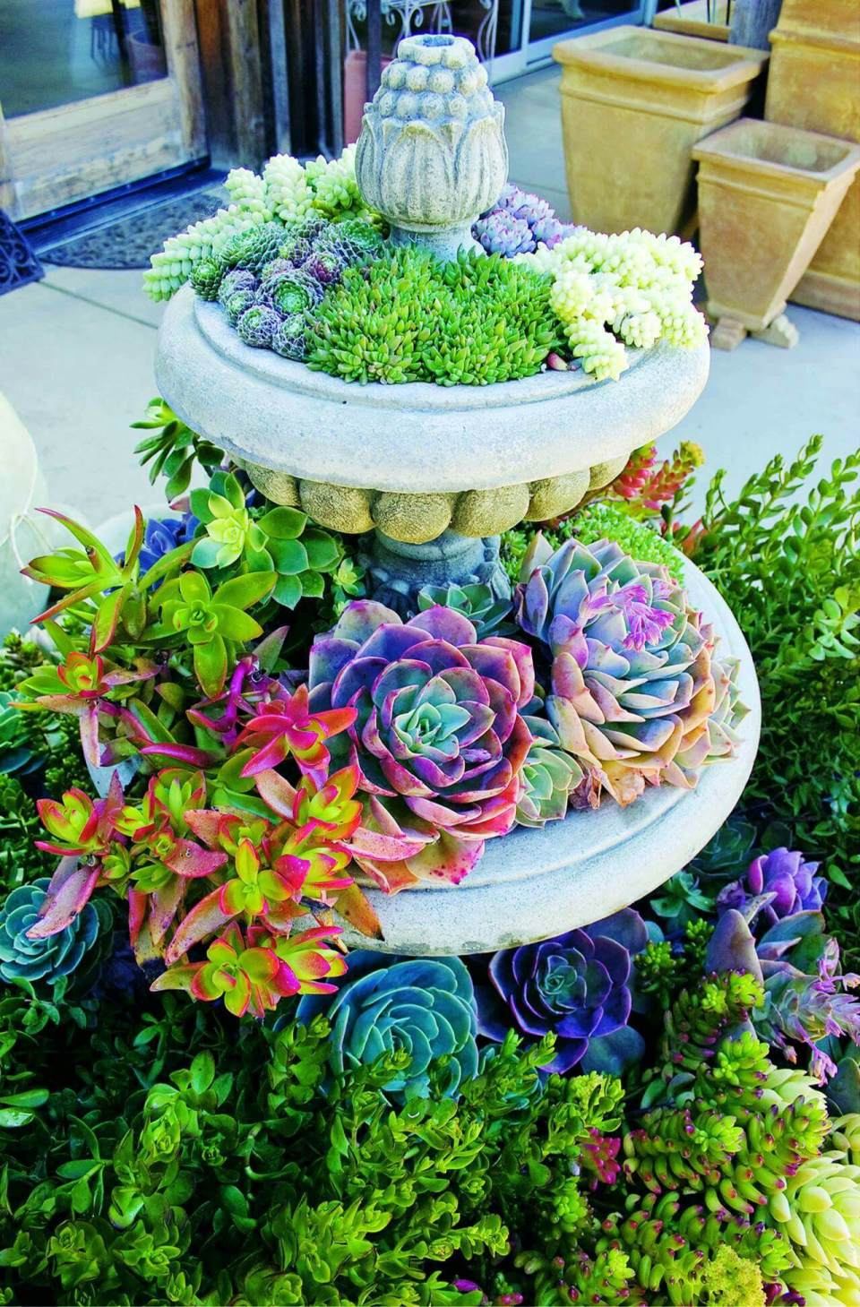 Repurposed Garden Fountain Container Idea