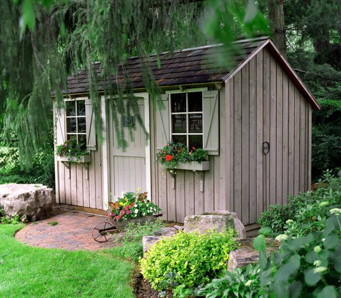 Closeup of the rustic shed in the yard