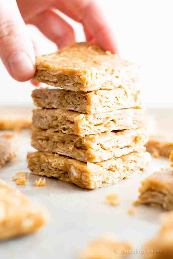 4 Ingredient No Bake Peanut Butter Coconut Oatmeal Bars