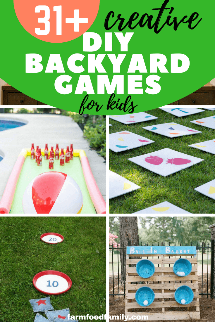 Summer is the great time for outdoor activities, and here we've gathered these 31+ DIY backyard game ideasthat your kids will love. #kids #kidsactivities #diy #backyard #farmfoodfamily