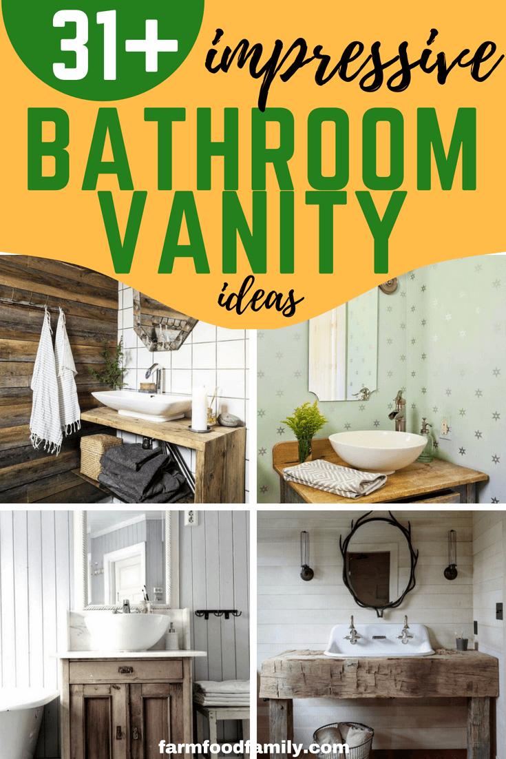 Looking for a bathroom vanity idea for your farmhouse?Luckily, we have curated 33+ unique and simple farmhouse bathroom vanity ideas to help you take your bathroom from drab to thatrustic farmhouse dream. #bathroom #bathroomideas #bathroomdesign #rusticfarmhouse #farmfoodfamily