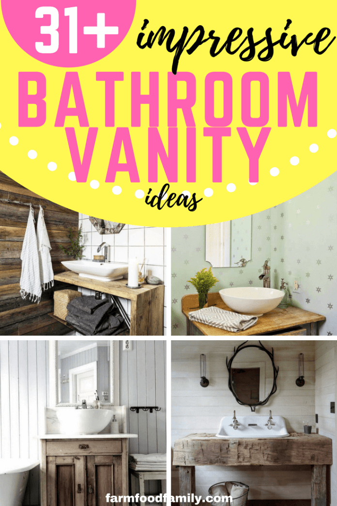 Checkout these 31+ Impressive Rustic Farmhouse Bathroom Vanity Ideas for your lovely house #bathroom #bathroomideas #bathroomdesign #rusticfarmhouse #farmfoodfamily